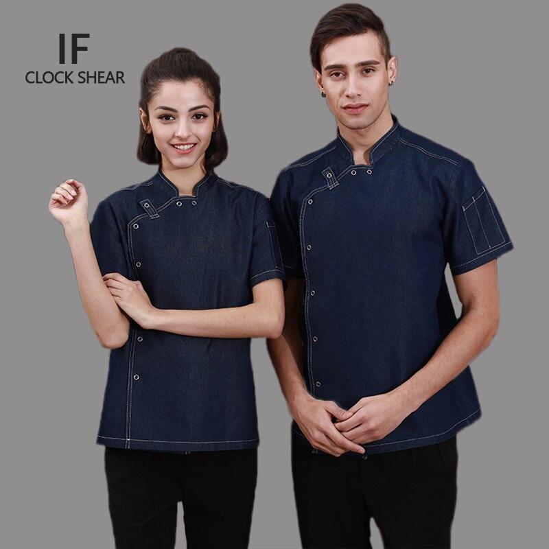 IF new Fashion hote restaurant kitchen short sleeve thin denim jean chef jacket for man and women