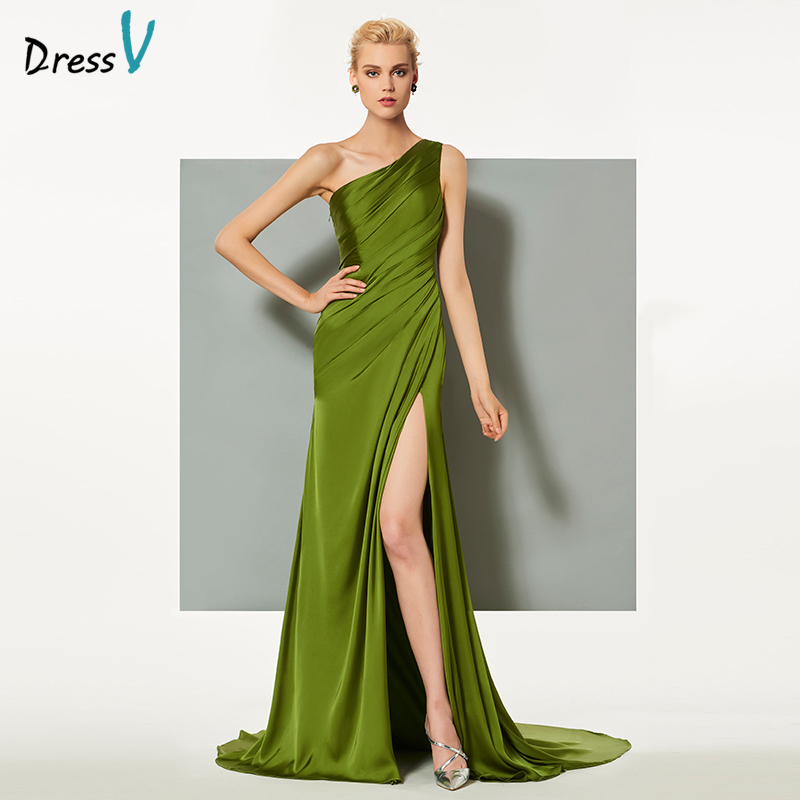 Dressv 녹색 우아한 이브닝 드레스 외장 코트 트레인 하나의 어깨 분할 전면 결혼식 파티 정장 드레스 이브닝 드레스