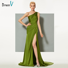 Dressv green elegant evening dress sheath court train one shoulder split-front wedding party formal dress column evening dresses