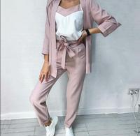 3 piece long sleeve Striped Blazer and Trousers women fashion Suits top and pants with camis Bussiness work OL ladies Clothes