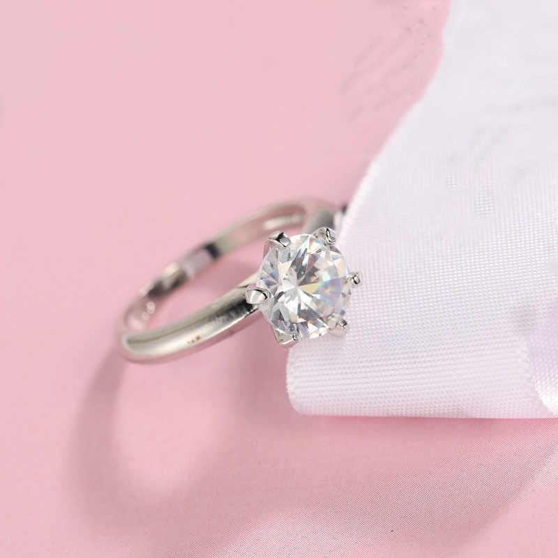 คลาสสิก 925 เงินตลอดกาลล้าง 6 กรงเล็บออกแบบ AAA CZ วงกลมรอบนิ้วหญิงแหวนผู้หญิงเครื่องประดับคริสต์มาสของขวัญ