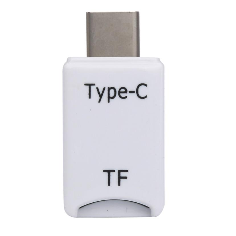 Simple Design Mini Type C Micro SD TF Memory Card Reader White OTG Adapter USB 3.1 Portable May01