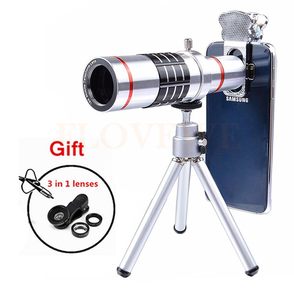 imágenes para 2017 Universal Microscopio Telescopio con Trípode Teleobjetivo Zoom Óptico de 18x lentes de ojo de Pez de Gran Angular Macro Para El Smartphone
