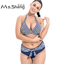 1550bd474bbff Ms.Shang Striped Swimwear Women 2019 Bikini Push Up Halter Top Plus Size  Swimsuit Sexy