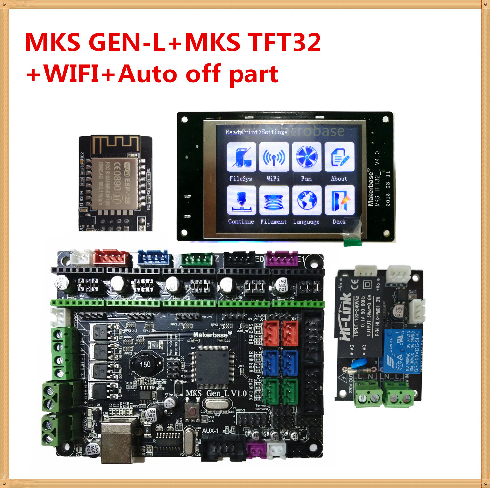 MKS GEN-L + MKS TFT32 touch screen + MKS PWC auto power off sensor + MKS WIFI control kits TFT 32 display for 3d printer learner 3d printing wireless router hlk rm04 wifi module mks hlkwifi v1 1 remote control for mks tft touch screen high stability