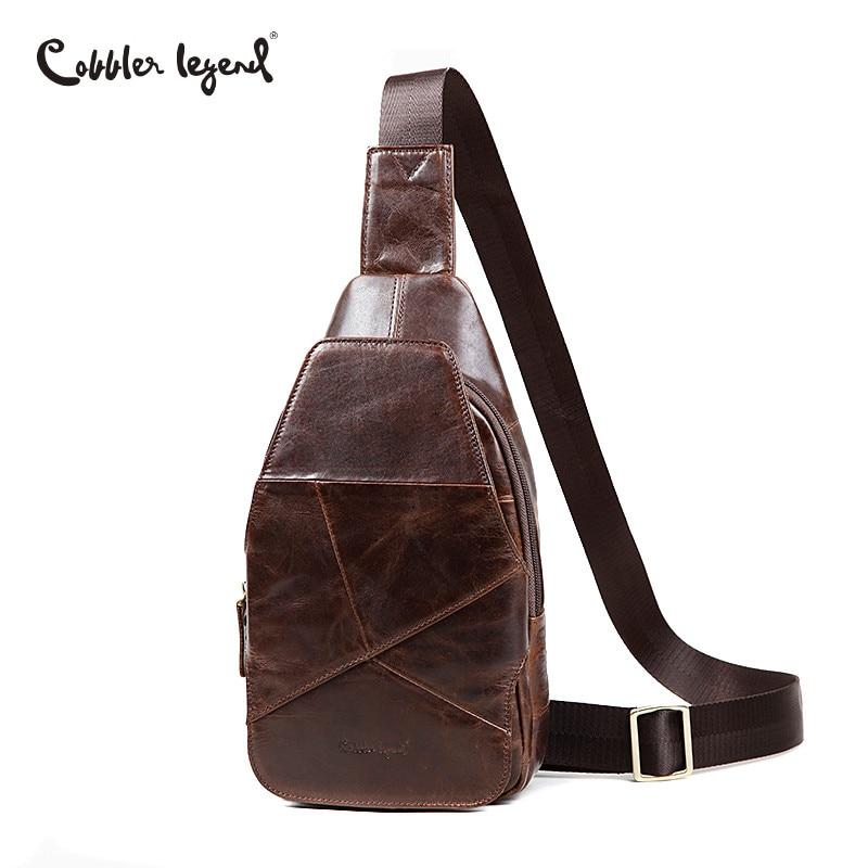 цена на Cobbler Legend Genuine Leather Men Bags Chest Pack Male Messenger Bag Men Chest Crossbody Bags Men's Shoulder Bag Men Travel