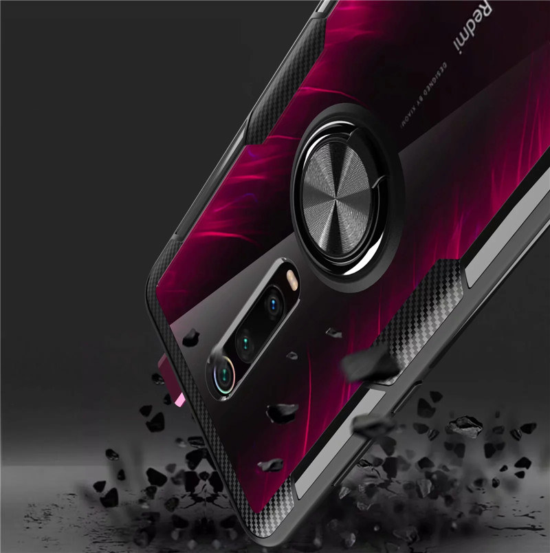 HTB1DM6hXUD1gK0jSZFGq6zd3FXav Tempered Glass Case For Redmi K20 Note 7 8 Clear Armor Cover For Mi Note 10 CC9 PRo A3 Lite 9T Mi9T 9 SE Metal Ring Holder Coque