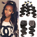 6A Peruvian Virgin Hair Body Wave with Free Part Closure 3 Piece a Lot Human Hair Bundles with Closure Peruvian Body Wave