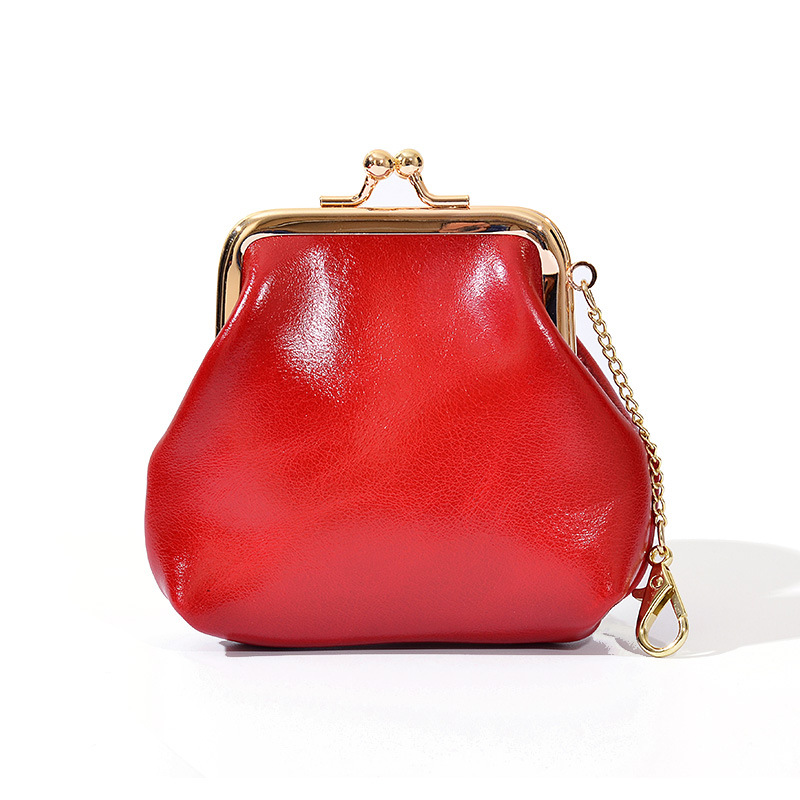 Genuine Leather Mini Coin Purse Women Wallets Oil wax leather Metal Frame Small Change Purse Clutch Money Bag