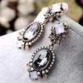 Black Crystal Dangle Earrings For Women Wedding Party Bridal Accessories Trendy Long Fine Gold Plated Jewelry Holiday Earring