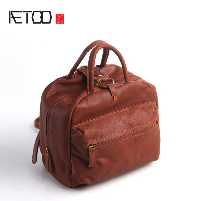 AETOO Pure leather Europe and the United States Japan and South Korea fashion leisure retro portable leather bag leather shoulde new europe and the united states fashion oil wax head layer of leather portable retro shoulder bag heart shaped color embossed h