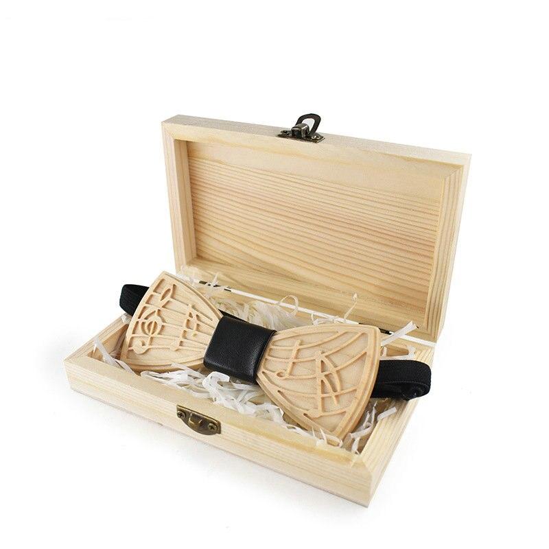 Bekleidung Zubehör DemüTigen Erwachsene Männer Neck Shirt Holz Fliege Krawatte Geschenk Musik Hinweis Gravieren Geschnitzte Bräutigam Schmetterling Formale Hochzeit Bogen Krawatten Holz Box
