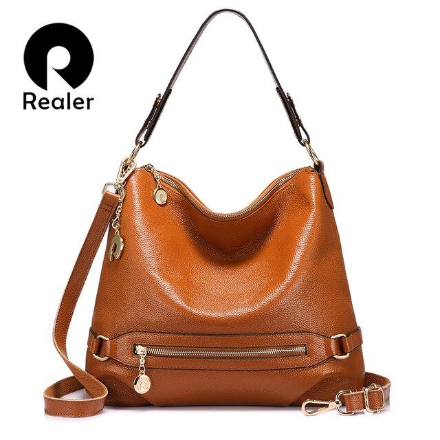 REALER большая женская сумка через плечо из натуральной кожи с высококачественным металлом, женская кожаная сумка на плечо