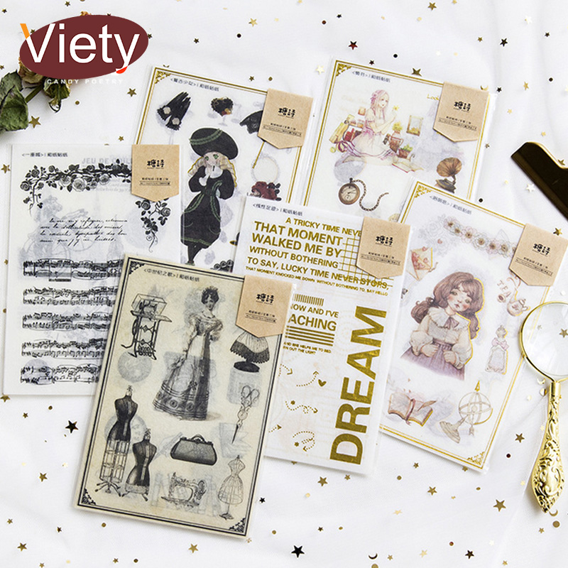 3 sheets/lot Vintage Bronzing girl paper sticker DIY scrapbooking diary album sticker post stationery school supplies aspirations of girl diy transparent clear rubber stamp seal paper craft photo album diary scrapbooking paper card rm 244