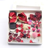1 Set Child Hair Accessories Princess Headdress Baby Birthday Gift Hair Clip Cloth Christmas Bow Pentagram