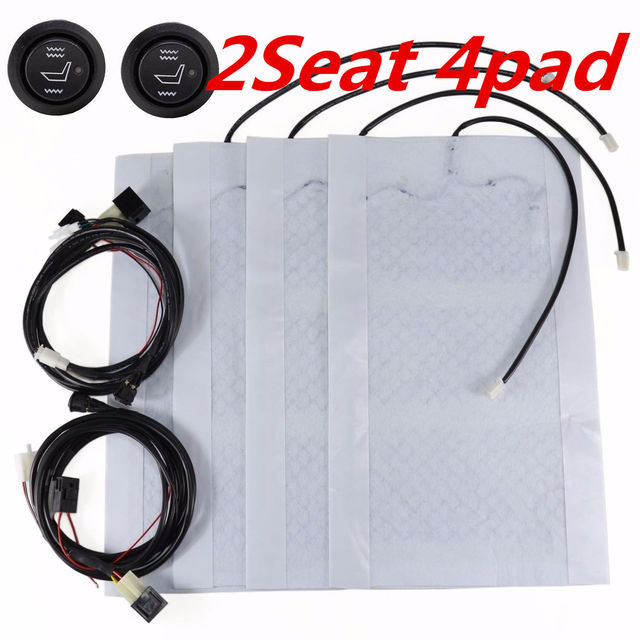 4x Universal Heating Pads Car Seat Heater Kit 12V + High/Low Switch ...