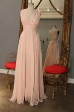 2017 Cheap Elegant Bridesmaid Dress A-line V-neck Chiffon Pink Crisscross Back New Arrival Long Bridesmaid Dresses