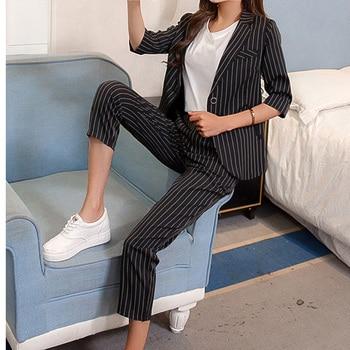 23b2deb2cf9 Комплект из 2 предметов женская одежда  блейзер + Штаны 2019 полосатый дамы  из двух частей костюмы офисный наряд комплект пальто + Pantalon ансамбл.