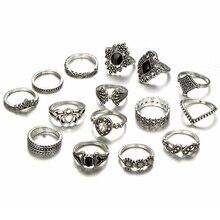 купить 15 sets of personality trend hollow lotus sunflower geometry black gemstone silver alloy set ring free shipping по цене 866.24 рублей