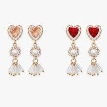 ew Fashion Charm Tassel Pearl Crystal Love Heart Earrings for Women Asymmetric Drop Luxury Jewelry Gift