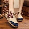 Zapatos Del Bordado de la vendimia Tailandesa Boho Algodón de lino paño de la lona nacional Único tejido Del Dedo Del Pie Redondo zapatos planos bordados tamaño 35-40