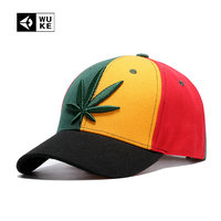 [WUKE] Summer Leisure Men's Baseball Cap Adjustable dad Hat Sunscreen Women's Snap back Couple Cap Embroidery Hemp leaves Unisex