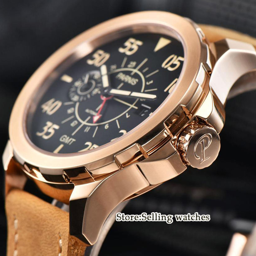 44mm Parnis black dial  rose golden CASE Sapphire glass GMT ST 2557 Automatic Men's Watch