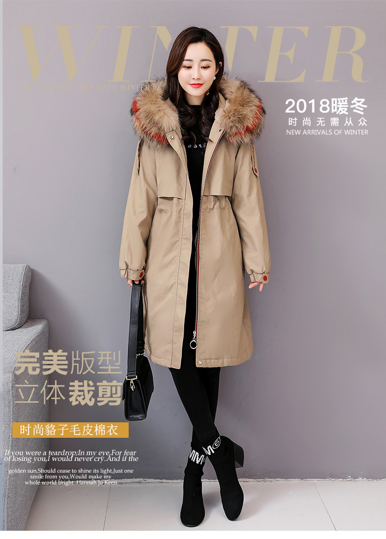 f71280abc Fur clothes girl long section raccoon Fur collar down thickening autumn  winter jackets women faux leather coat parka outerwear