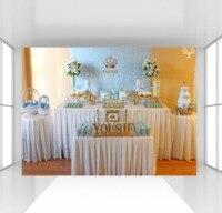 HUAYI Custom light blue damask patterns backdrop photophone baby boy baby shower background photocall crown birthday backdrop