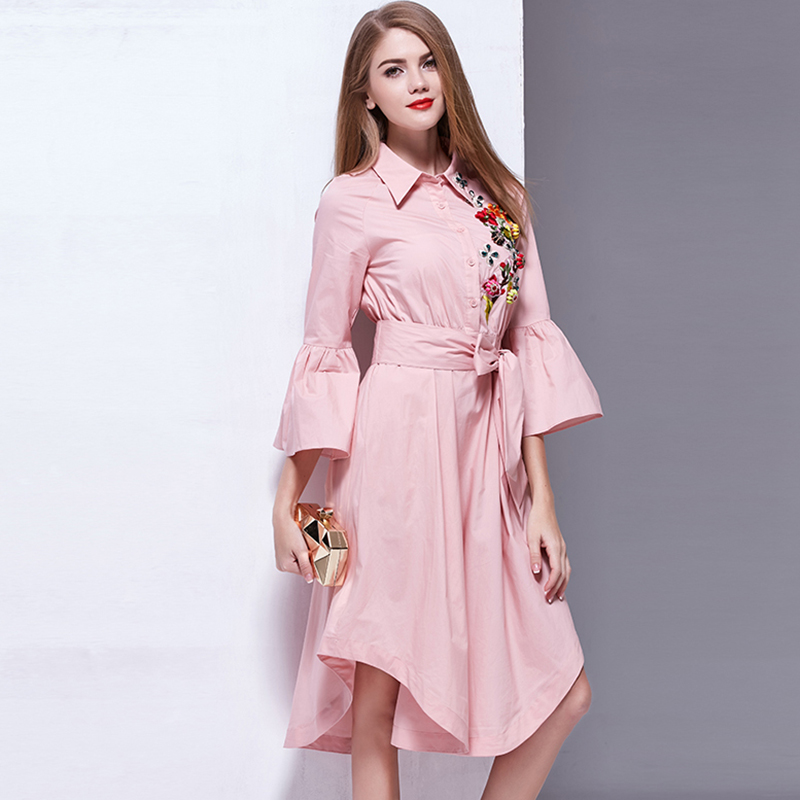 Designer Casual Dress 2017 New Summer Flare Sleeve Embroidery Pink / White Belt Casual Asymmetrical Shirt Dress