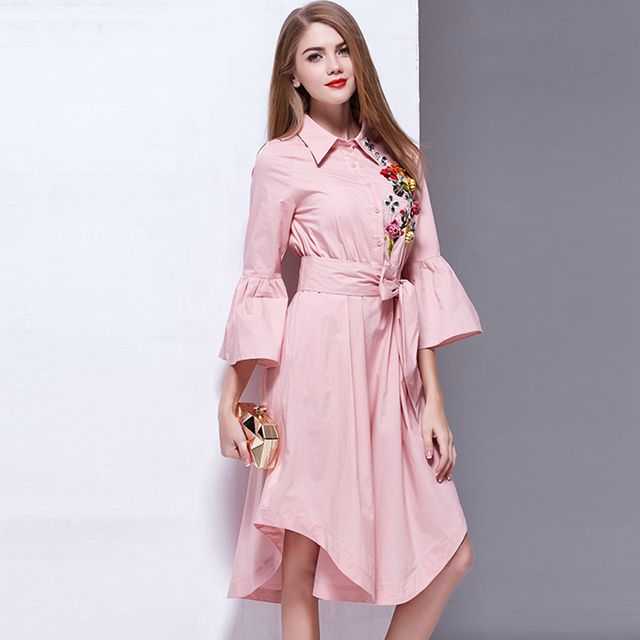 ec1eb740cc6 Designer Casual Dress New Summer Flare Sleeve Embroidery Pink ...