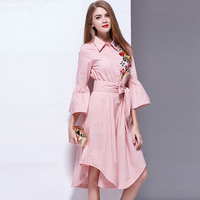 Designer Casual Dress 2017 New Summer Flare Sleeve Embroidery Pink White Belt Casual Asymmetrical Shirt Dress
