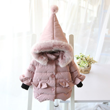 Children's clothing jacket 2018 new winter girls fashion thick solid color cotton coat children's zipper hooded cotton clothes