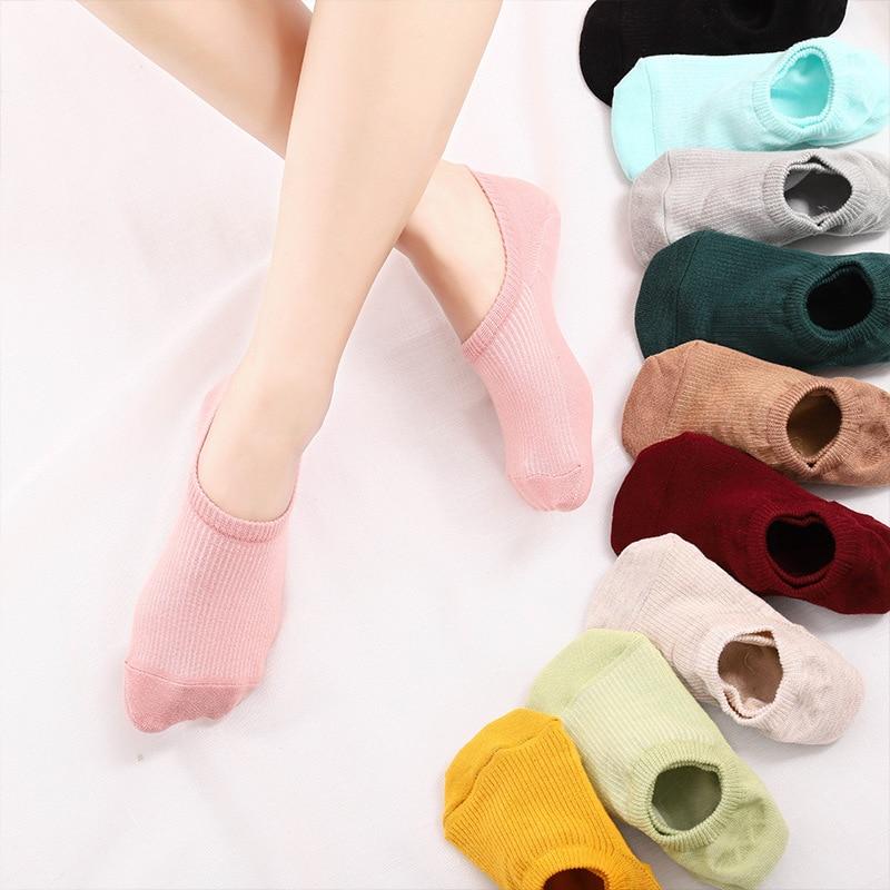 ETya 1Pair Women Low Cut Invisible Socks Cotton Summer Comfortable Girl Ankle Boat Socks Girl Non-slip Short Socks