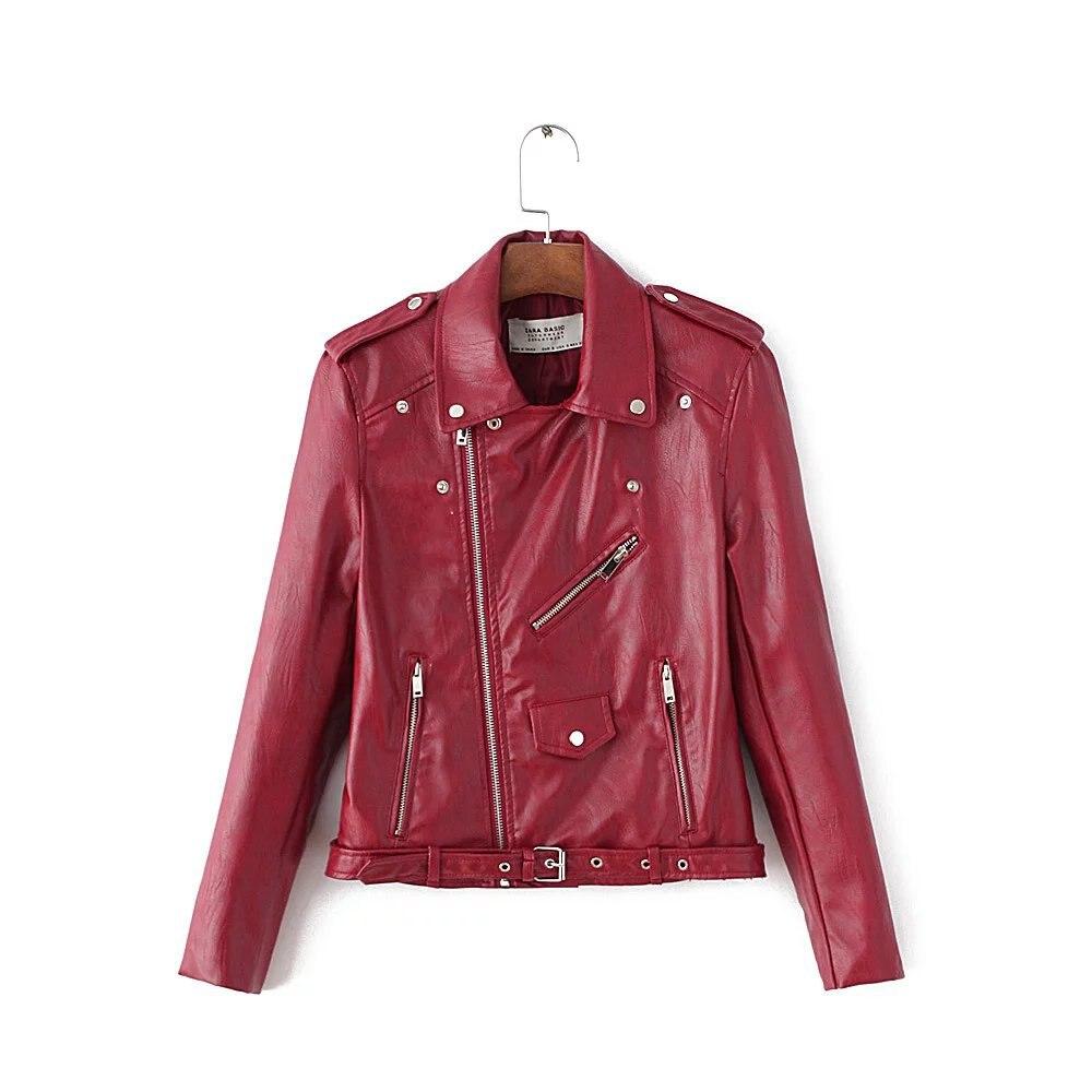 PU Leather Brand   Jacket   Coat 2017 Short Pink Motorcycle   Jacket   With Pocket Female Classic Spring Autumn   Basic     Jacket   Coat Women