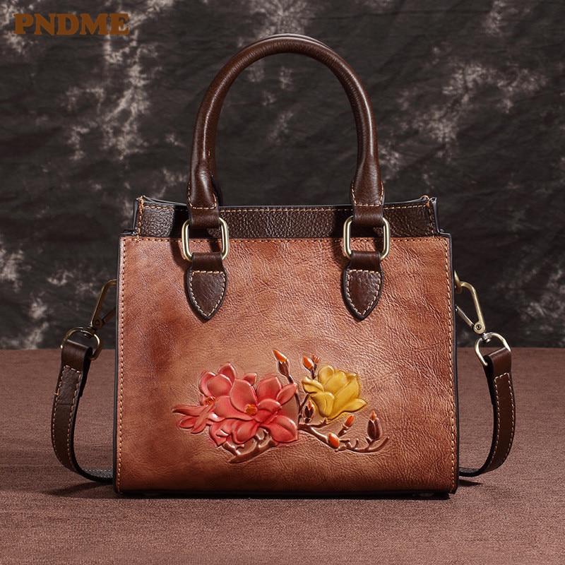 PNDME luxury vintage fashion handmade embossed genuine leather ladies handbag messenger bags designer women 39 s shoulder bags in Shoulder Bags from Luggage amp Bags