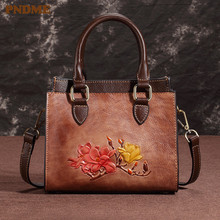 PNDME luxury vintage fashion handmade embossed genuine leather ladies handbag  messenger bags designer womens shoulder
