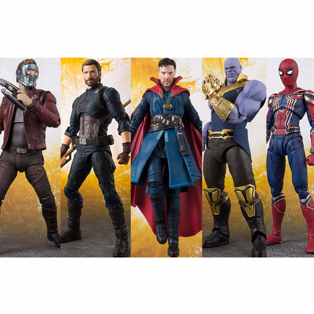 SHF Avengers Infinity War Thanos Doctor Strange Iron Man SpiderMan Star Load Black Panther Captain America Action Figure