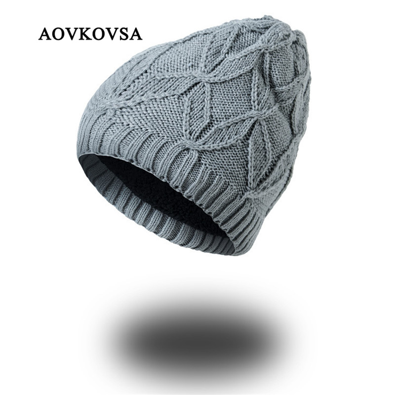 AOVKOVSA New Fashion Skullies Beanies Autumn Winter Hats for Women Acrylic Cashmere Knit Wool Hat Men Thick Warm Fur Girls Cap skullies