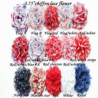 "50 pcs/ lots 3.75"" chiffon lace flowers for girls headwear headband , shabby flowers -- 4 th July"