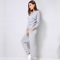 Autumn Winter Women Pullover Tops Long Pants Sweater Sets Casual V neck Two Piece Sets Loose Outfits Knitted Suits