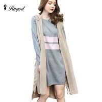 Winter 2016 Autumn Mohair Knitted Vest With Hooded Veste Femme Long Cardigans Finomino Knee Length Sleeveless