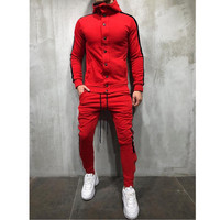Hot style hooded cardigan men's fashion hip hop collage casual sports suit track suit