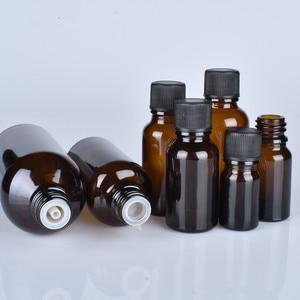 Image 2 - 6 pcs/lot 100 ml 50 m 30 ml 20 ml 15 ml 10 ml 5 ml 1/3 oz 1 oz bouteilles en verre dhuile essentielle ambre épaisse avec des récipients en verre à capuchon noir
