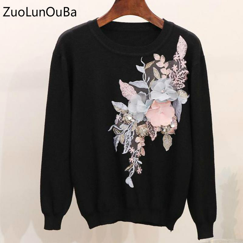 ZuoLunOuBa Sweater Women 2019 Autumn Winter Beaded Sequins Three Dimensional Flower Embroidered Long Sleeve Knit Sweater Female