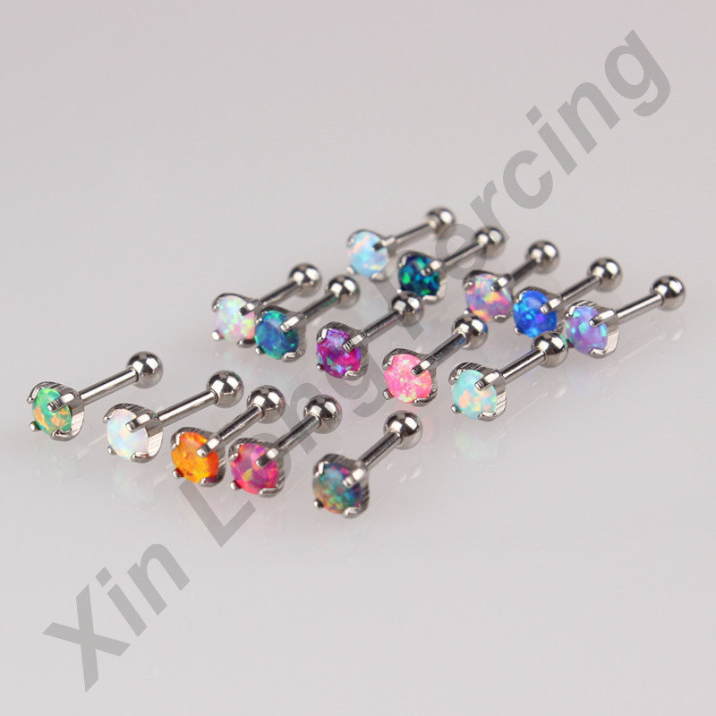 MIXEDS 15 COLORS OPAL EAR CARTILAGE BODY PIERCING TRAGUS HELIX STUD RING EARRING BARBELL 15pcs/lot