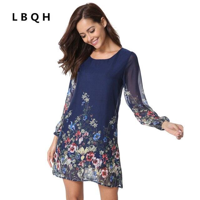 LBQH 2017 autumn Ms fashion The New Sexy Long sleeves Brands dress high quality cotton Chiffon printing Women T-shirts Dresses