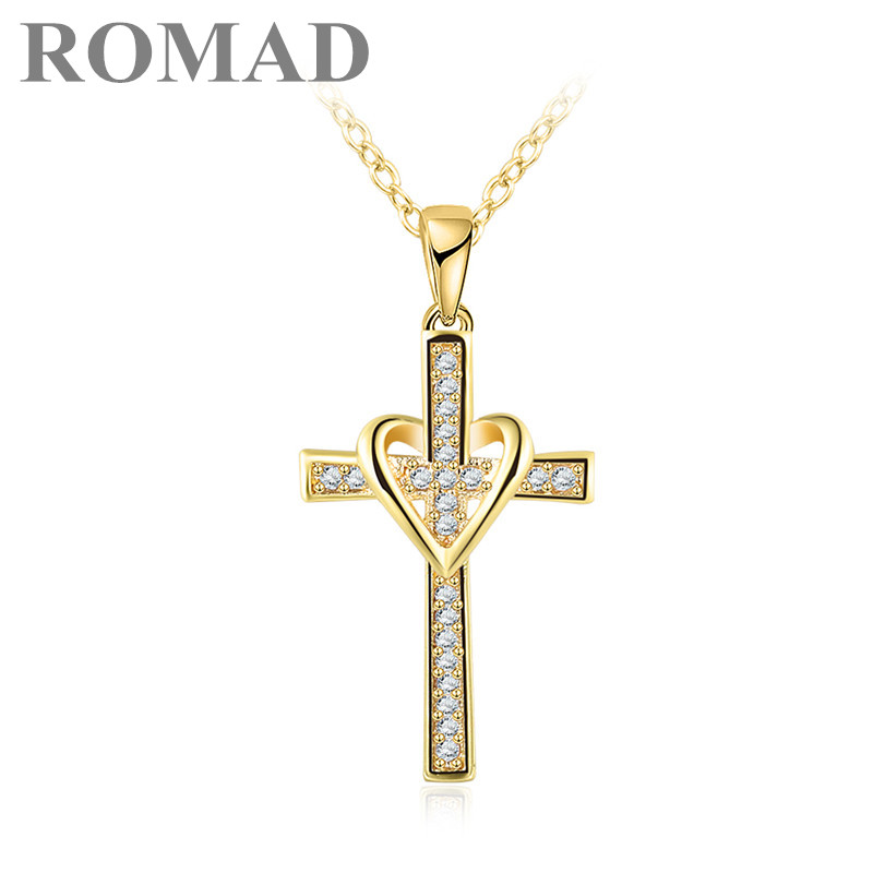 ROMAD 2019 Lovely Chic Infinity Cross Pendant Necklace For Women Gold Color Zircon Chain Choker Necklace Jewelry Collares Mujer
