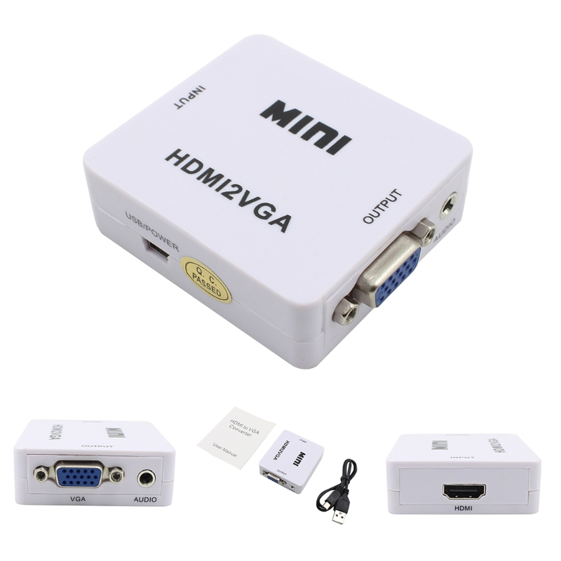 HDMI to VGA Converter With Audio HDMI2VGA 1080P Adapter Connector For PC Laptop to HDTV Projector HDMI 2 VGA Converter 1080p 60hz mini hdmi to vga converter for xbox 360 ps3 pc dvd cabo built in hdmi2vga connector adapter with audio cable hdmi vga