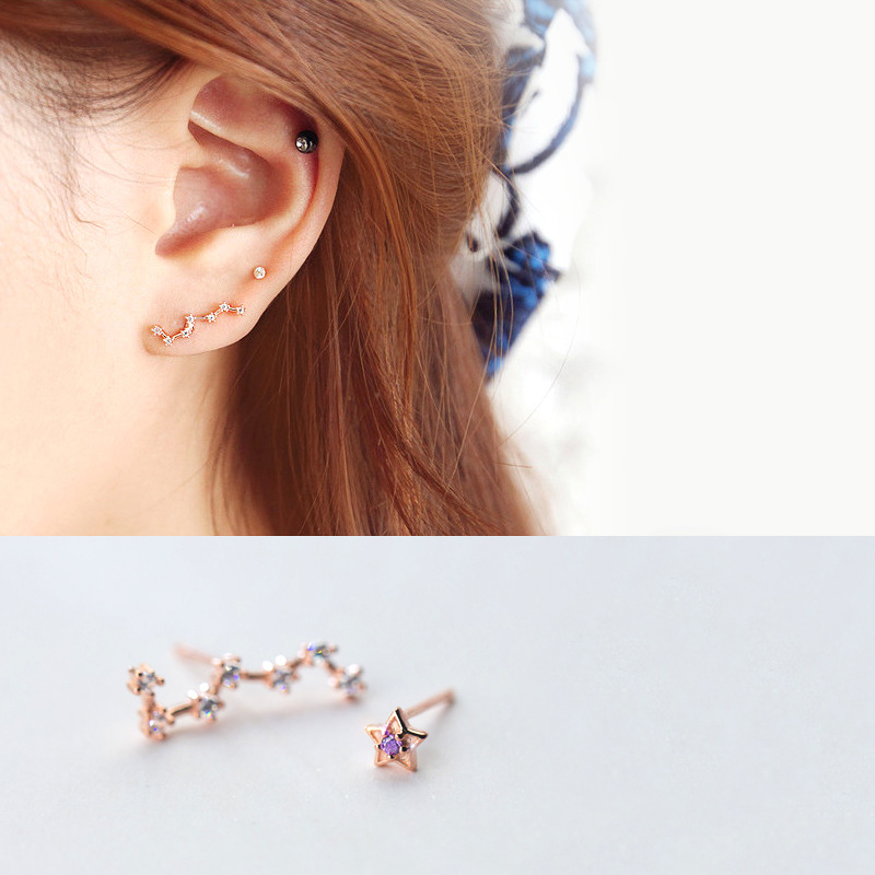 MloveAcc 925 Sterling Silver the Polaris & the Dipper Stars CZ Stud Earrings for Women Children Girls Kids Jewellery Gift
